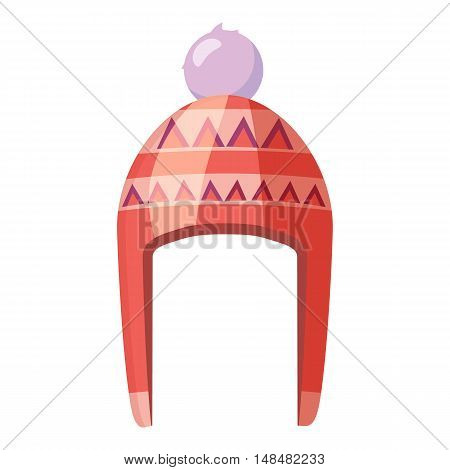 Red hat with pompom icon in cartoon style isolated on white background. Accessory symbol vector illustration