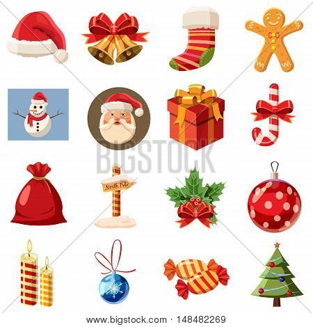 Christmas icons set in isometric 3d style. Holiday elements set collection vector illustration