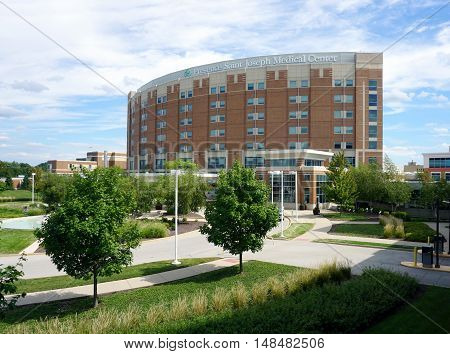 JOLIET, ILLINOIS / UNITED STATES - SEPTEMBER 4, 2016: The main entrance of the Presence Saint Joseph Medical Center in Joliet.