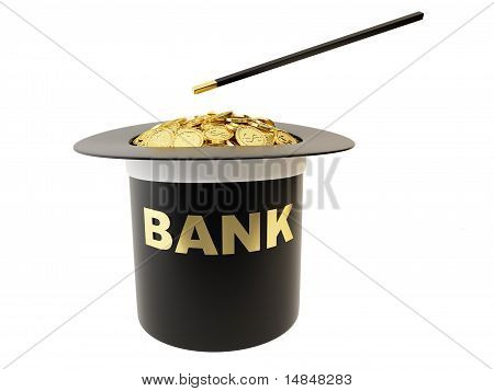 Cylinder magician with gold coins