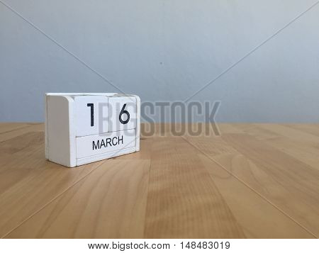 March 16Th. March 16 White Wooden Calendar On Vintage Wood Abstract Background. First Spring Day.cop