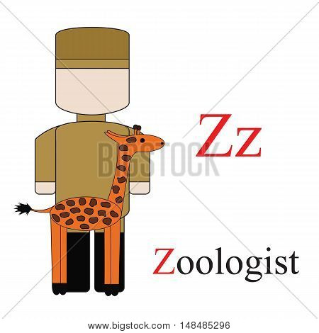 Letter Z alphabet of professions. Zoologist. ABC education cards for kids.