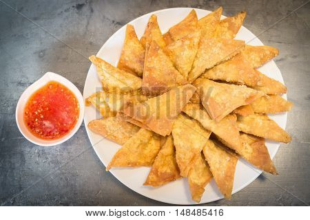 Homemade fried dumplings serving on the plate stock photo
