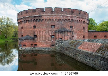 Tower of Der Dona now museum of Amber. Part of the german defensive fortifications in the Konigsberg (1843-1859). After Second World War Konigsberg was called Kaliningrad and became part of Russia.