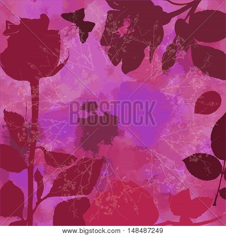 A vector post card with silhouettes of roses and leaves, and a butterfly, on an abstract purple watercolor background texture, with copyspace