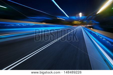 moving forward motion blur background . night scene .