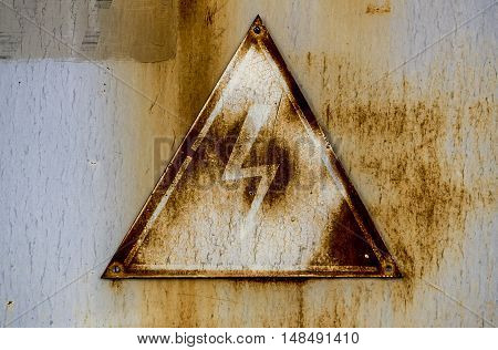 Attention sign, high voltage sign, high voltage warning sign, icons warning, grunge electricity