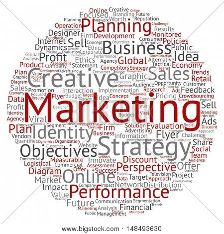 Vector concept or conceptual business marketing circle word cloud isolated on background metaphor to advertising, strategy, promotion, branding, value, performance, planning, challenge or development
