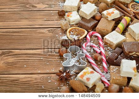 Christmas nougat on a brown background close up