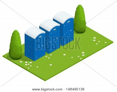 Isometric Bio mobile toilets on grass. Blue bio toilet in park. Hiking services. Flat color style illustration icon Bio toilet. Bio toilet concept. Street bio toilet