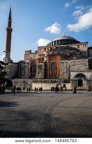 Istanbul, Turkey - December 2015: Hagia Sophia in Istanbul Turkey. Hagia Sophia was built in 537 as basilica than converted into a mosque in 1453 and transformed museum in 1935.