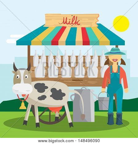Farmer selling milk products in local market. Woman produce shopkeeper. Fresh dairy retail business owner working in his store. Cartoon flat vector illustration
