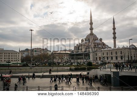 Istanbul, Turkey - December 2015:  View of the Golden Horn area of Istanbul with the Yeni Cami, New Mosque, located at the southern end of Galata brdige.