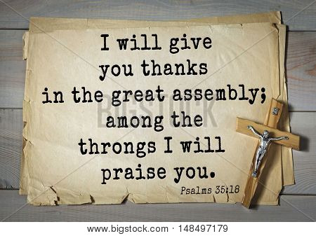 TOP-1000.  Bible verses from Psalms.I will give you thanks in the great assembly; among the throngs I will praise you.