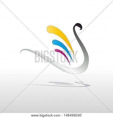 Vector sign swan cmyk print  isolated illustration