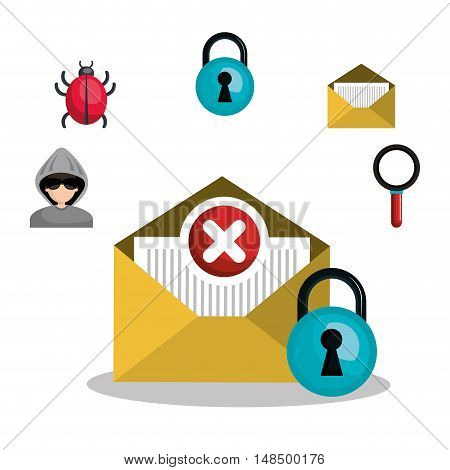 email mail message virus error design vector illustration eps 10