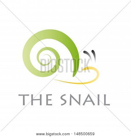 Vector sign abstract green snail isolated illustration