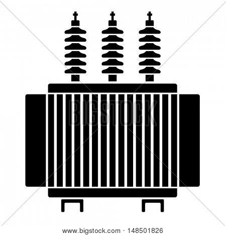 high voltage electrical transformer black symbol vector