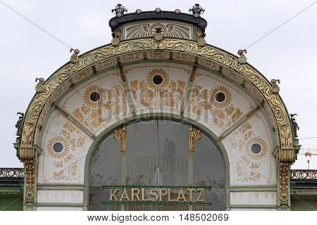 VIENNA AUSTRIA - NOVEMBER 23 2013: Karlsplatz Stadtbahn Station Jugendstil architecture Vienna secession station - designed by Otto Wagner.