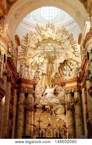 VIENNA AUSTRIA - NOVEMBER 23.2013: The Karlskirche (St. Charles's Church) interior - high altar. The most outstanding baroque church in Vienna as well as one of the city's greatest buildings.