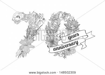 seventy (70) years anniversary sign of floral linear digits