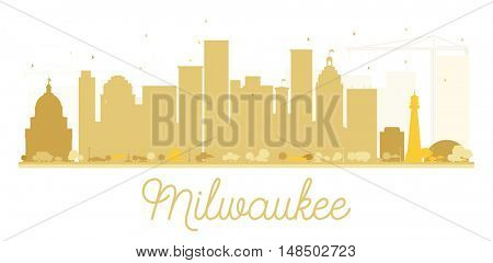 Milwaukee City skyline golden silhouette. Simple flat concept for tourism presentation, banner, placard or web site. Cityscape with landmarks