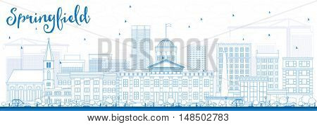 Outline Springfield Skyline with Blue Buildings. Business Travel and Tourism Concept with Modern Buildings. Image for Presentation Banner Placard and Web Site.