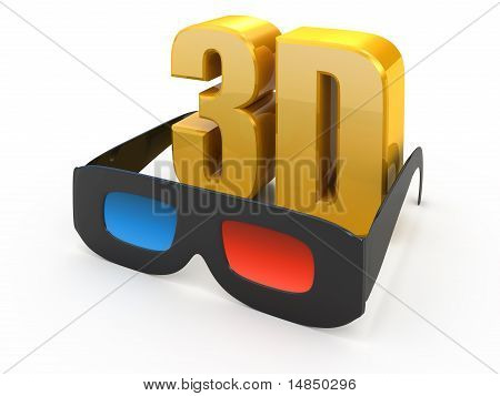 3d movie glasses isolated on white