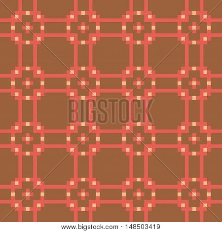 Geometric seamless stitching pattern in a desaturated colors on a brown background. Pixel art. Vector illustration