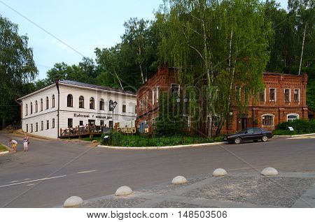 PLES RUSSIA - JULY 20 2016: Unidentified people are relaxing on terrace of restaurant-brewery