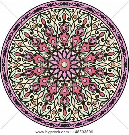 Drawing of a floral mandala in pink, yellow and green colors on a white background. Hand drawn tribal  vector stock illustration