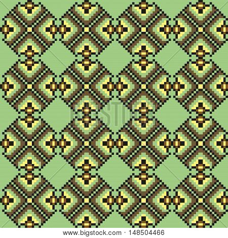 Geometric floral seamless stitching pattern in desaturated colors on light green background. Pixel art. Vector illustration