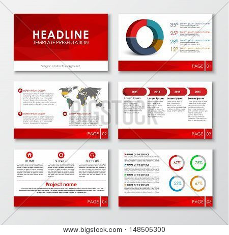 Templates for Web presentation slides. Design with polygonal red elements charts and icons. Vector illustration. Set