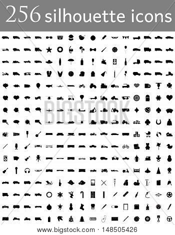 diverse set silhouette of flat icons vector illustration isolated on background
