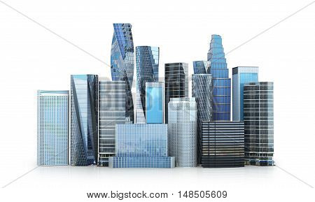 City scape skyscrapers .The city is isolated on a white background. 3D illustration