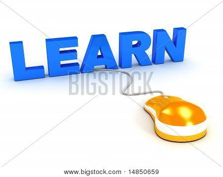 Concepto de E-learning sobre blanco