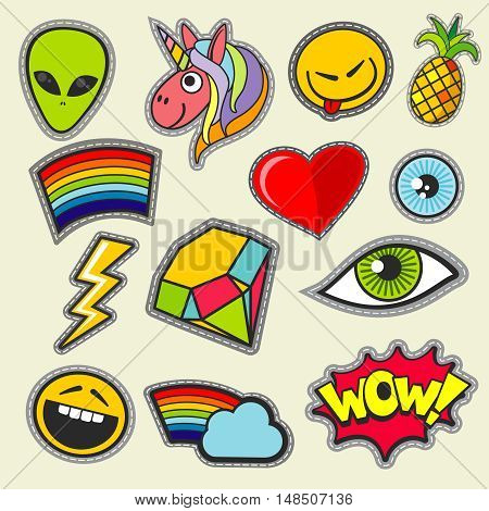 Patch girl tshirt pocket print vector icons. Heart and diamond, alien and unicorn