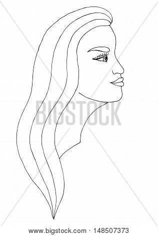 Head young beautiful girl with the long hair. Mono color black line art element for adult coloring book page design child magazine shirt and other.