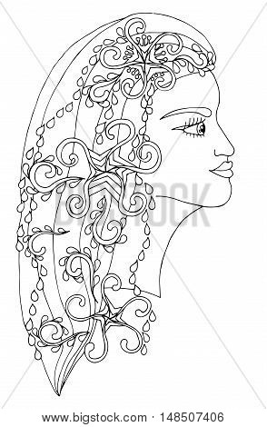 Winter girl with abstract décor element on the hair. Mono color black line art element for adult coloring book page design child magazine shirt and other.