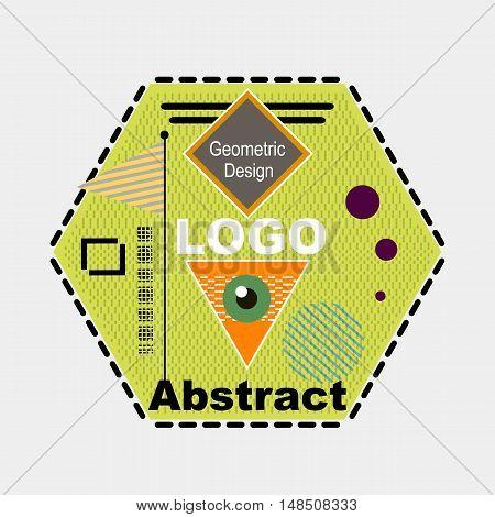 Abstract Composition. Minimalistic Fashion Backdrop Design. Triangle Brand Logo Icon. Green, Orange