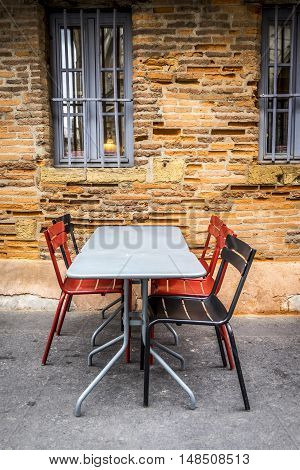 terrace with modern decor in a corner of Toulouse France Europe