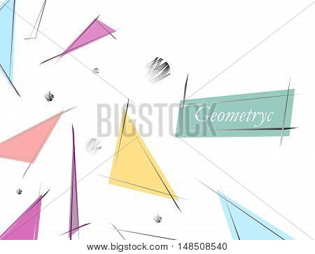 Abstract Composition. Minimalistic Fashion Backdrop Design. Patch Flying Triangles Icon. White Font