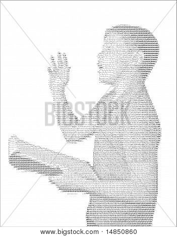 School boy delivering speech in his school clothes in ASCII letter Art poster
