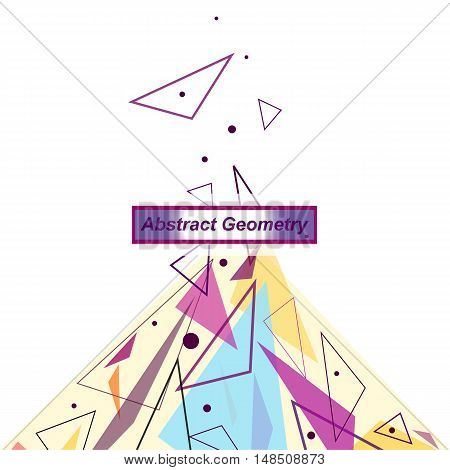 Abstract Composition. Minimalistic Fashion Backdrop Design. Patch Flying Triangles Icon. Modern Font