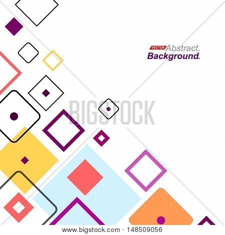 Abstract Concept. Minimalistic Backdrop Design. Patch Purple, Blue, Yellow, Red Flying Square Icon.