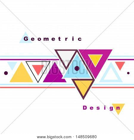 Abstract Composition. Minimalistic Fashion Backdrop Design. Triangle Brand Logo Icon. Pink, Yellow,