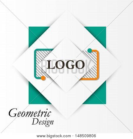 Abstract Concept. Minimalistic Backdrop Design. Square Brand Logo Icon. Green, Orange Box Blocks Fon
