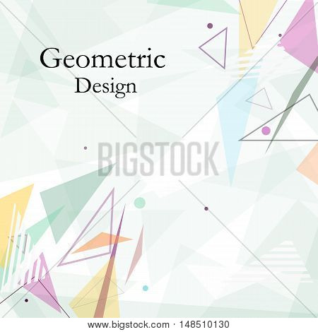 Abstract Composition. Minimalistic Fashion Backdrop Design. Patch Flying Triangles Icon. Green Font