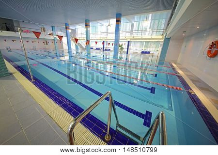 RUSSIA, MOSCOW - DEC 10, 2014: Empty pool with transparent water in training center for civil defense and emergency situations of Moscow.