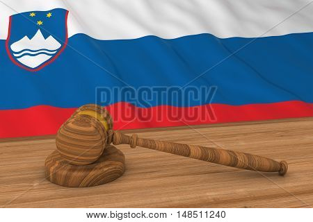 Slovenian Law Concept - Flag Of Slovenia Behind Judge's Gavel 3D Illustration